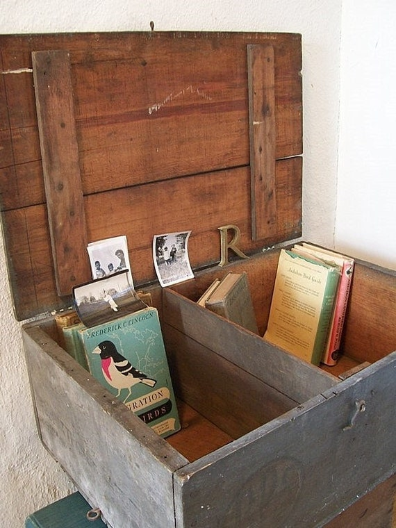 Old Farmhouse Cabinet, Wood Crate Cubby or Lidded Storage Box
