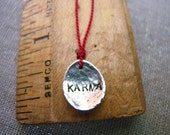 Etsy Jewelry KARMA Necklace Earth Day Recyled Sterling Silver Personalized Hand Stamped Simple Word Jewlery Free Shipping Sale