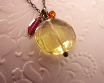Semi Precious Stone Colored Necklace Oxidized Sterling Silver and Lemon Quartz Necklace with Garnet Details