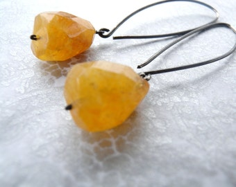 Citrine and Sterling Silver Nugget Dangle Earrings Semiprecious Colored Stones Oxidized Silver Earrings