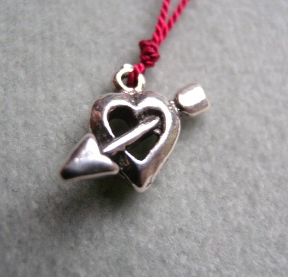 Valentine's Day Heart and Arrow Charm Necklace Sterling Silver Etsy Finds FREE SHIPPING in US