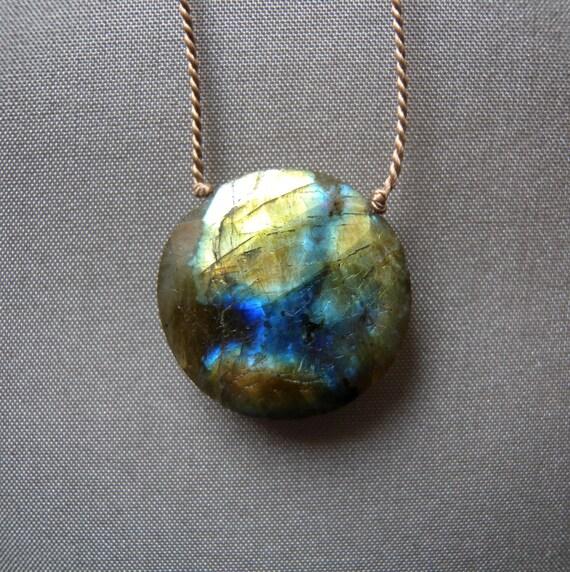 Etsy Gift Ideas Labradorite Pendant Necklace Stone Disk Bohemian Earthy