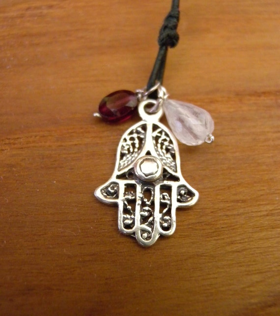 Hamsa Hand  Necklace Sterling Silver Pendant with Moonstone and Garnet on Leather Cord