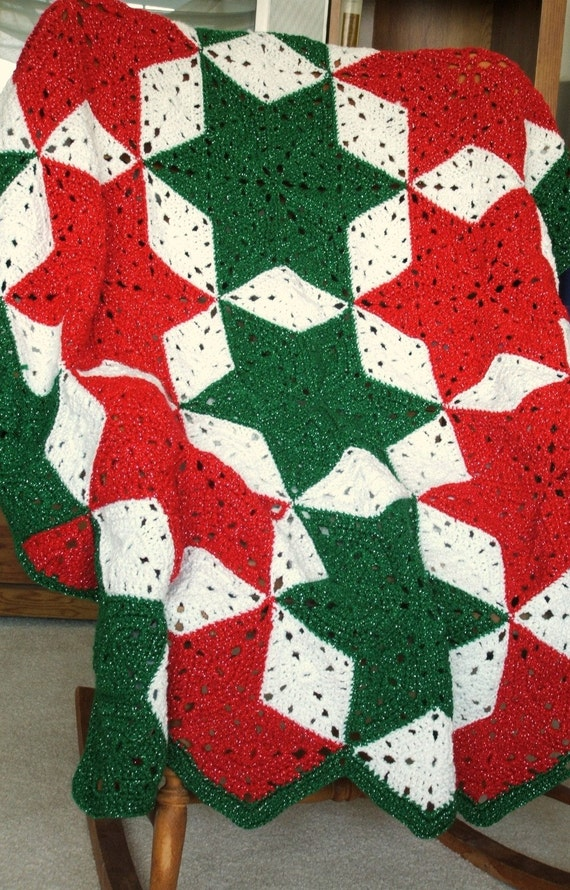 Christmas Afghan in a Star Pattern