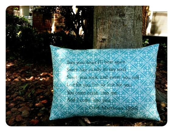 Customizable Lyric Pillow Dave Matthews- Crash