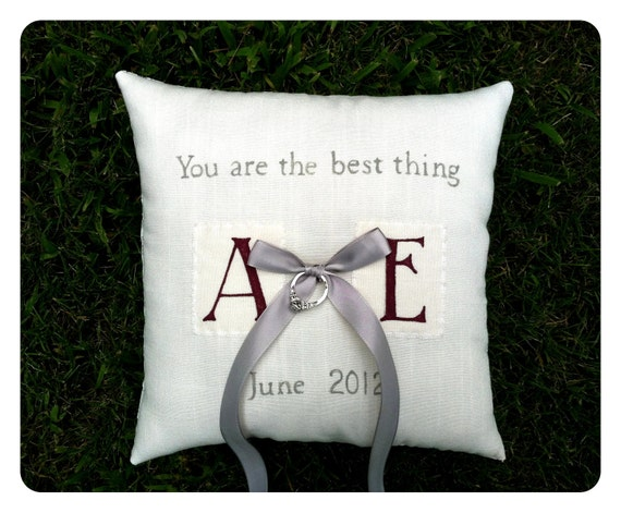 Reserved for Alex- Completely custom and personalize ring bearer pillow, double sided with lace back