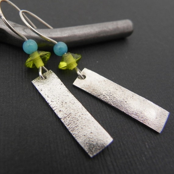 SALE Green and Blue Earrings - Silver and Glass Bead Earrings