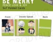 Peace Love and Joy Christmas Folded Card - 5x7 FOLDED - Templates for Photographers