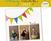 INSTANT DOWNLOAD - Finley Collage - Photo Collage Storyboard Photography Template - 12x12