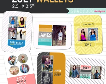 INSTANT DOWNLOAD - Zoey Wallets - Wallet Size Photo Templates - Senior Rep Cards