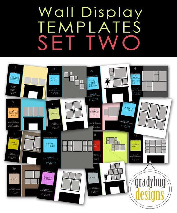 Wall display templates set 2 for photographers - Photo wall display template ...