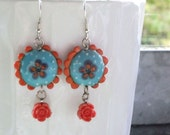 SALE 30% - Turquoise Lampwork Bead Earrings with Flower Cabochon - Beads by Elize