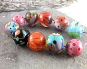 Spring Times  - Set of 10 round Lampwork Beads - Beads by Elize - SRA
