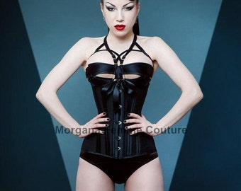 READY TO WEAR- Size 18 to 26 inch Back to Basics longline underbust black corset
