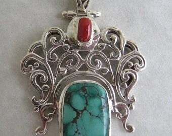 Gemstone Pendant Bead Artisan Genuine Sky Blue TURQUOISE and Red CORAL set in Sterling Silver MGS686SP