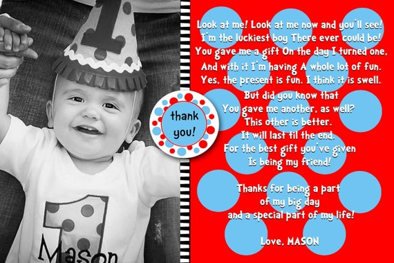 4x6 or 5x7 Custom Photo Thank You Card Dr.Seuss to match MODERN BEBE ITEMS colors can be altered
