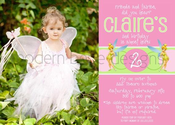 Flutterific Tinkerbell Birthday Invite - 5X7 printable invitation
