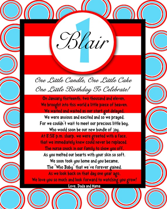 8x10 Birthday POEM great as a centerpiece, book insert, gift for your little one MODERN BEBE