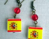 Spain Spanish Espanha Flag Earrings  1785 - waterproof and reversible - 220
