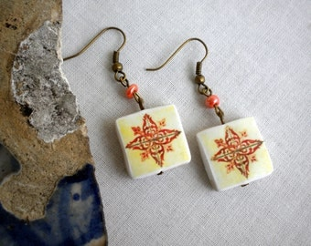 Portugal  Antique Tile Replica Earrings,  Ilhavo Tangerine,  - waterproof and reversible 278