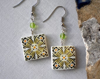 Portugal  Antique Tile Replica Earrings,  Yellow and Green  - waterproof and reversible 301