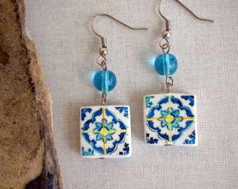Portugal  Antique Tile Replica Earrings,  Blue -  ESGUEIRA  (Abandoned)  - waterproof and reversible