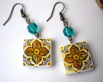Portugal  Antique Tile Replica Earrings,  Ilhavo, Gold and Aqua - waterproof and reversible - 209