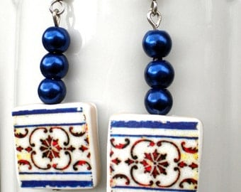 Portugal  Antique Tile Replica Earrings,  Blue and Red  - ESGUEIRA - waterproof and reversible - 208
