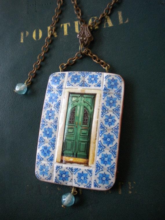 Portugal Tile Azulejos Door Replica  Necklace Collage