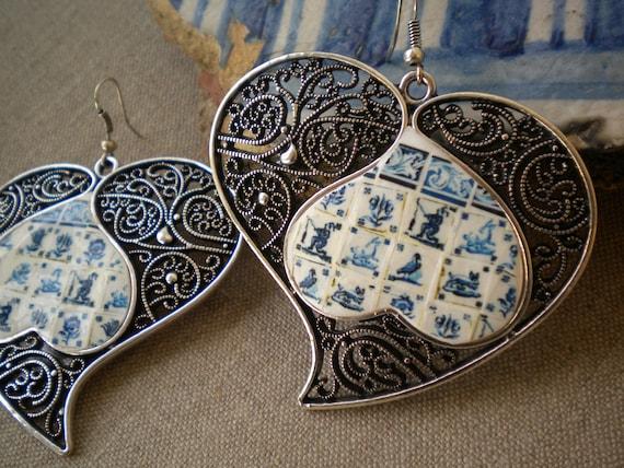 Portugal Lisbon Delft Blue Antique Tile Replica 1837 in Large  Filigree Heart of Minho Earrings