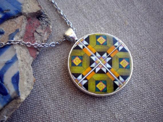 Portugal Rustic Orange Geometric Antique Tile Replica Necklace