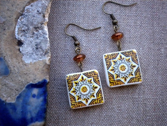 Portugal  Antique Tile Replica Earrings,  Ilhavo,  Gold - waterproof and reversible