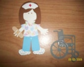 Nurse with wheelchair paper doll diecut