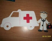 Doctor paper doll with ambulance