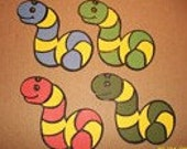 slimey the worm -set of 8 diecuts- cricut- fully assembled- 2 inches