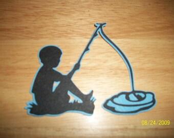 Boy fishing shadow diecut- cricut