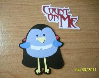 Count dracula birdie die cut with count on me title