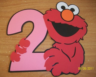 Elmo holding a number 2
