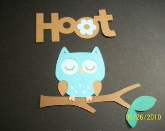 Owl on a branch and hoot title diecuts