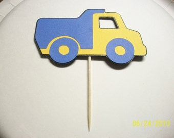 dump truck cupcake toppers- set of 12