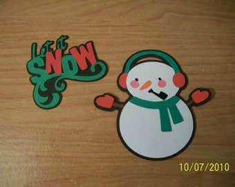 Let it snow title and snowman die cut