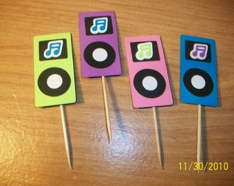 Ipod or mp3 player cupcake toppers set of 12