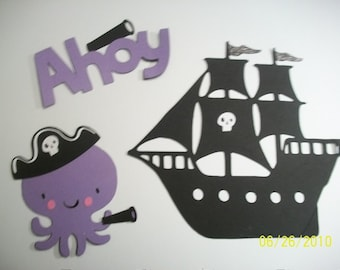octopus pirate, pirate ship and ahoy title diecuts