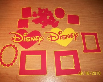 DISNEY DIECUT LOT- 25 Pcs (Frames,Mats,Hearts,Shapes)(red and yellow)