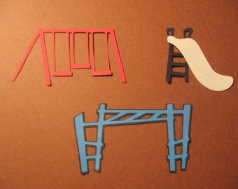 swing, slide, and monkey bars diecuts