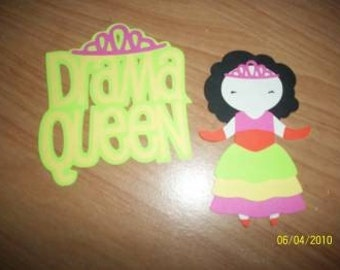 Drama Queen paper doll and title diecuts