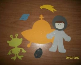 Astronaut paper doll with spaceship diecut