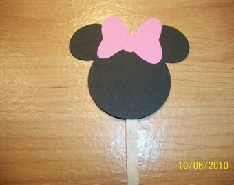 Minnie Mouse cupcake toppers- set of 72- pink bow