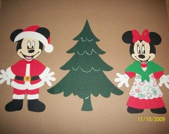 Santa Mickey and Mrs. Minnie diecuts- fully assembled- cricut