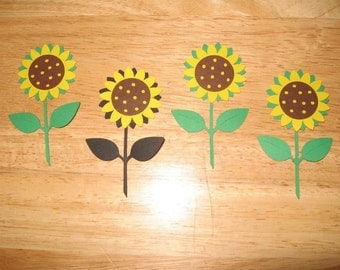 set of 4 Sunflower diecuts